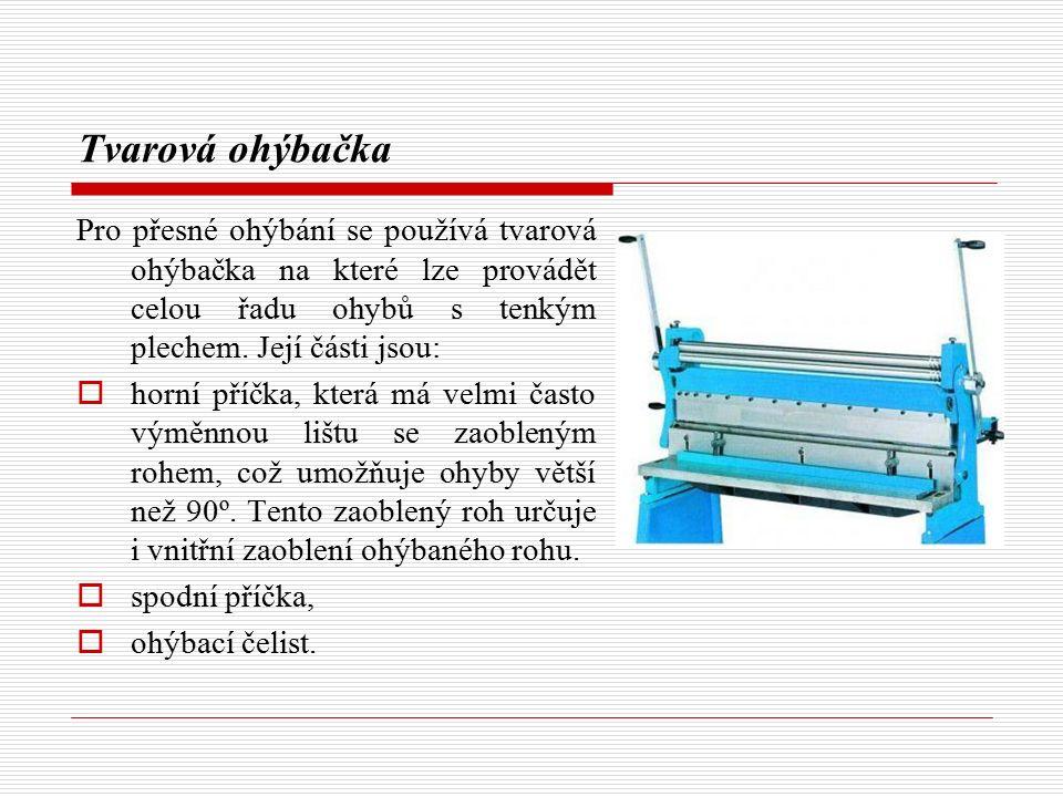 Tvarová ohýbačka Pro přesné ohýbání se používá tvarová ohýbačka na které lze provádět celou řadu ohybů s tenkým plechem. Její části jsou: