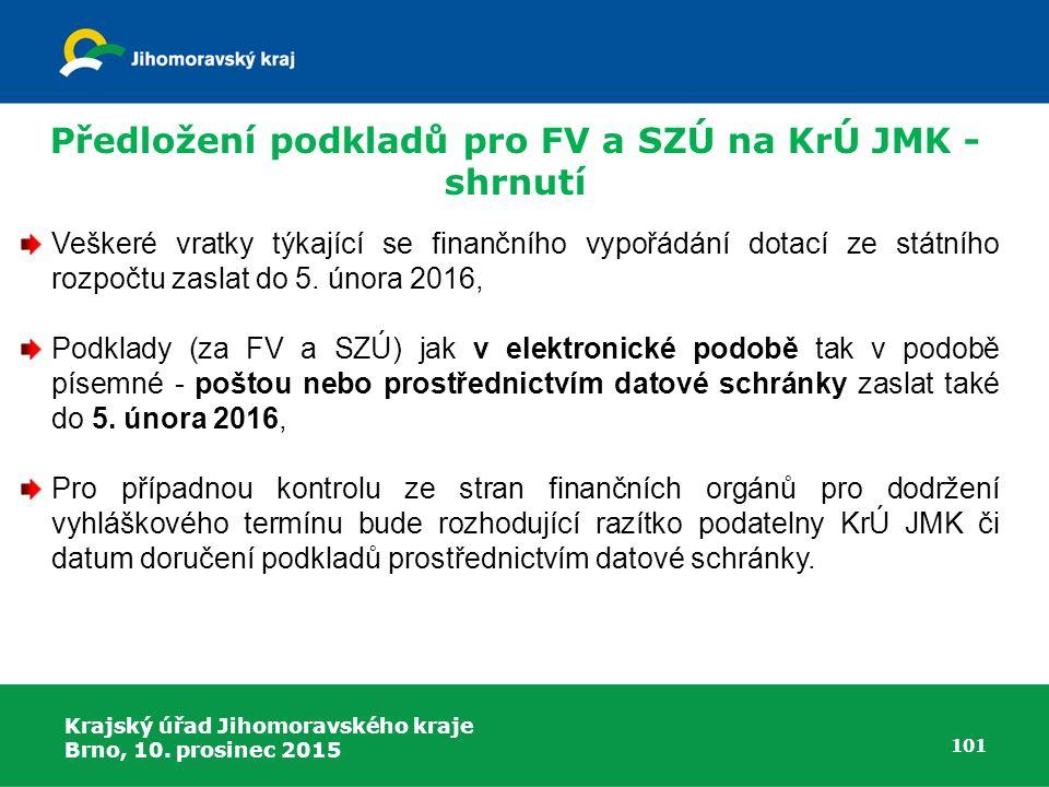 Předložení podkladů pro FV a SZÚ na KrÚ JMK - shrnutí