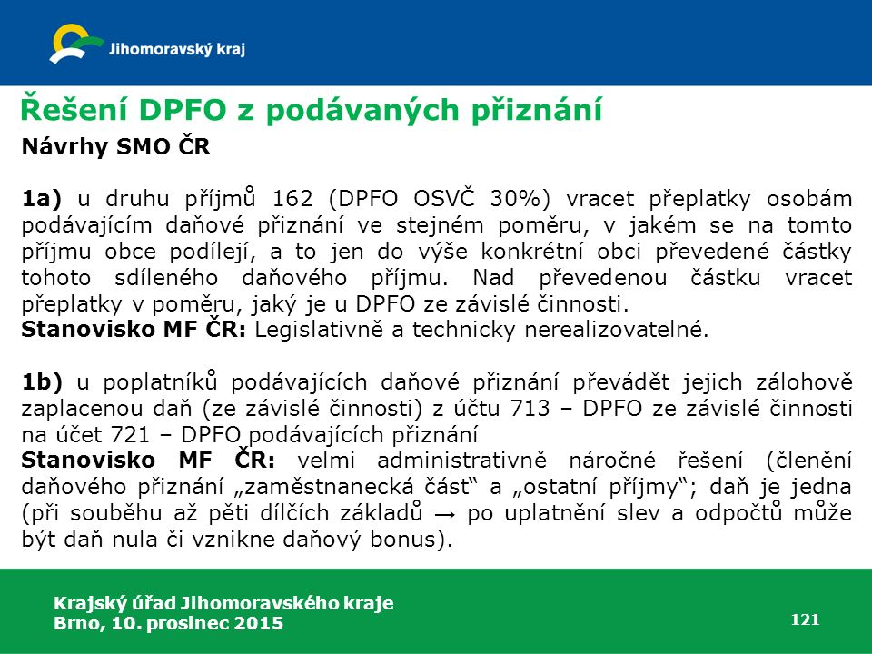 Řešení DPFO z podávaných přiznání