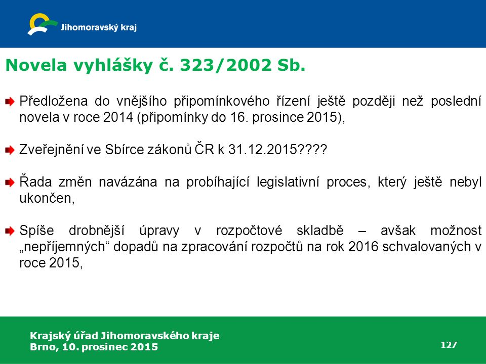 Novela vyhlášky č. 323/2002 Sb.