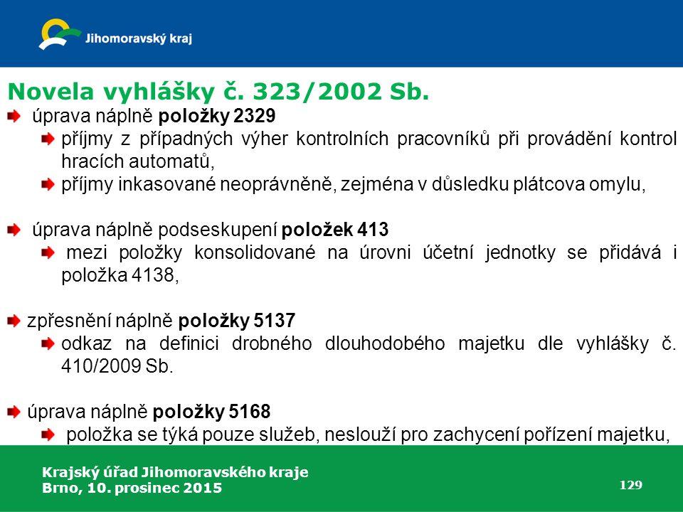 Novela vyhlášky č. 323/2002 Sb. úprava náplně položky 2329