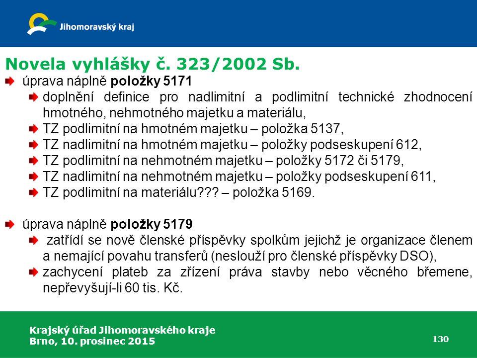 Novela vyhlášky č. 323/2002 Sb. úprava náplně položky 5171
