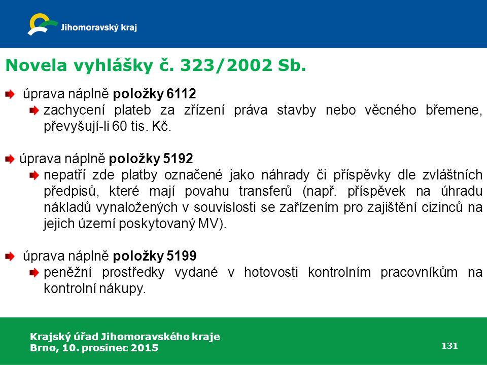 Novela vyhlášky č. 323/2002 Sb. úprava náplně položky 6112