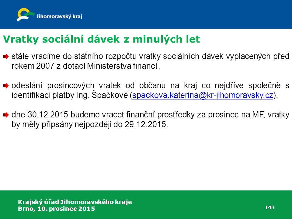 Vratky sociální dávek z minulých let