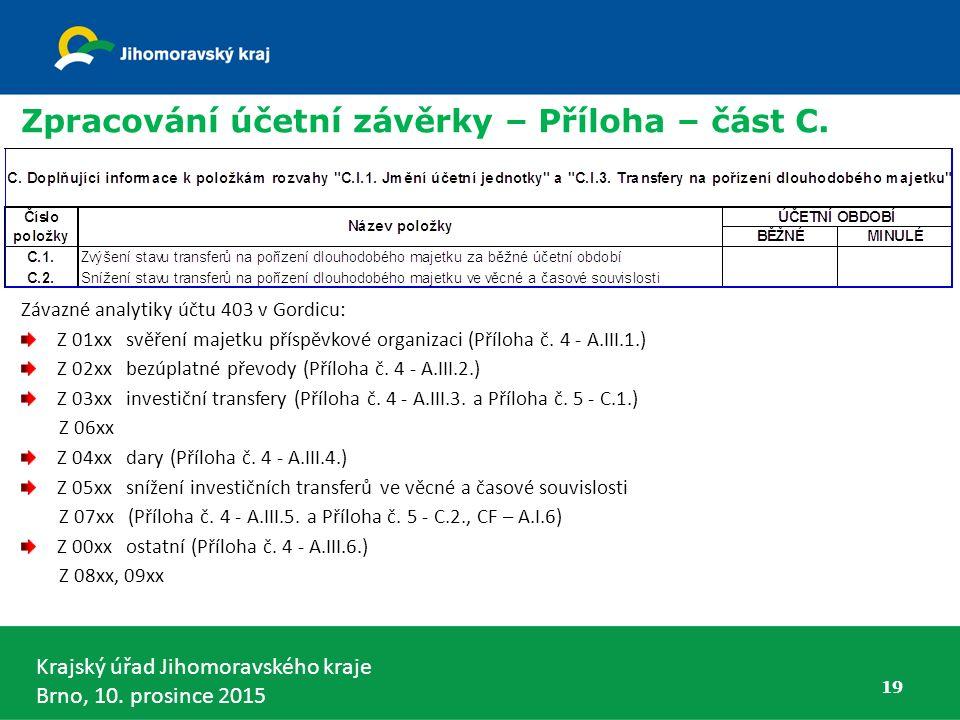 Zpracování účetní závěrky – Příloha – část C.