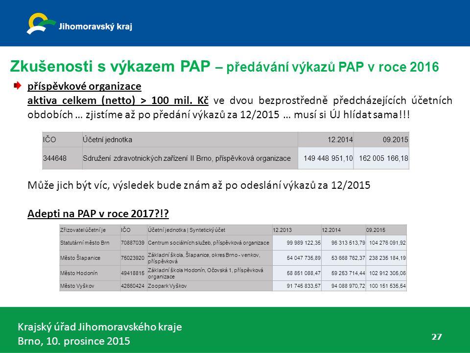 Zkušenosti s výkazem PAP – předávání výkazů PAP v roce 2016