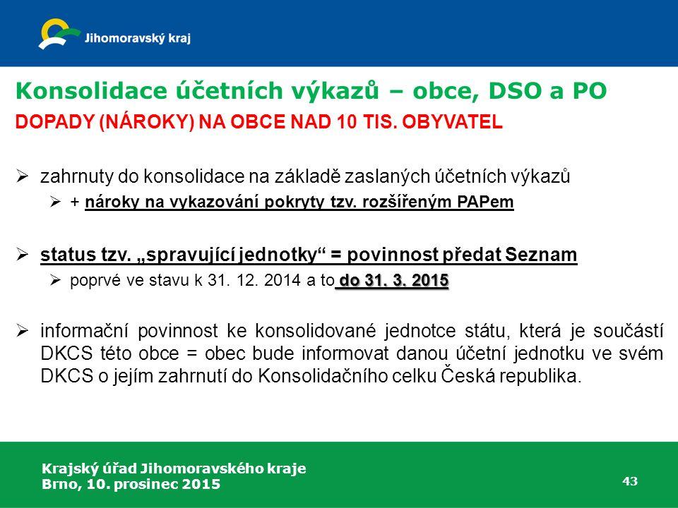 Konsolidace účetních výkazů – obce, DSO a PO