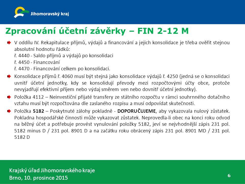 Zpracování účetní závěrky – FIN 2-12 M