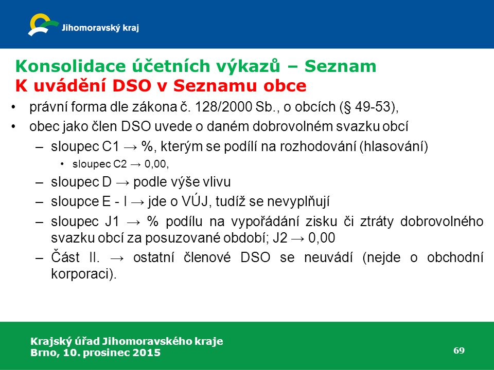 Konsolidace účetních výkazů – Seznam K uvádění DSO v Seznamu obce