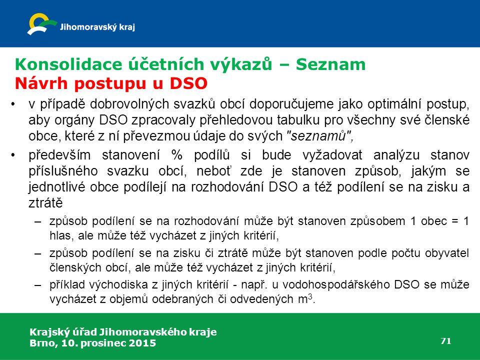 Konsolidace účetních výkazů – Seznam Návrh postupu u DSO