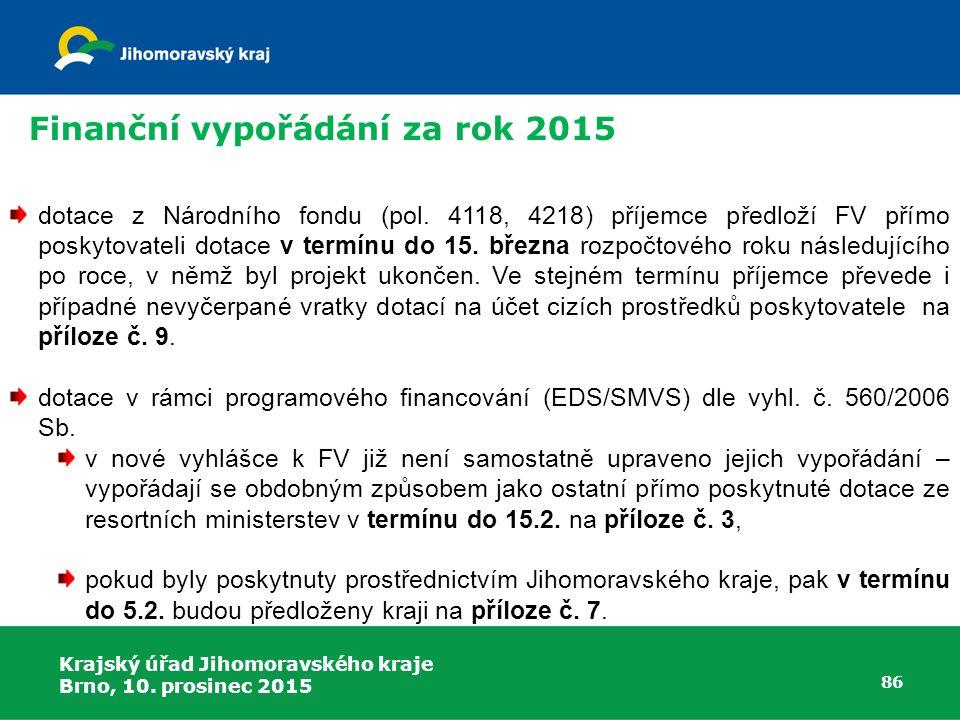 Finanční vypořádání za rok 2015