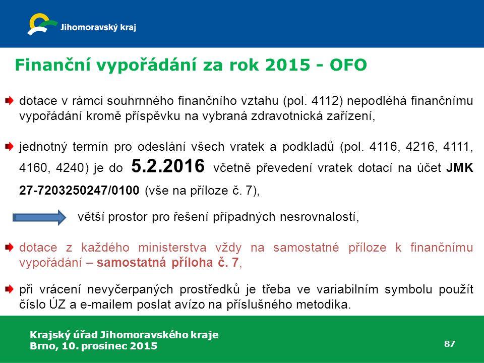 Finanční vypořádání za rok 2015 - OFO