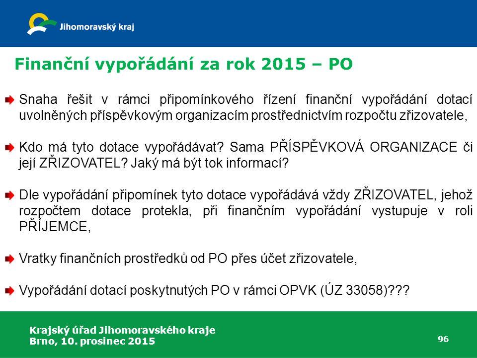 Finanční vypořádání za rok 2015 – PO