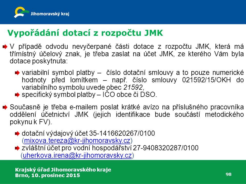 Vypořádání dotací z rozpočtu JMK
