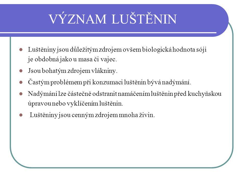 VÝZNAM LUŠTĚNIN Luštěniny jsou důležitým zdrojem ovšem biologická hodnota sóji je obdobná jako u masa či vajec.
