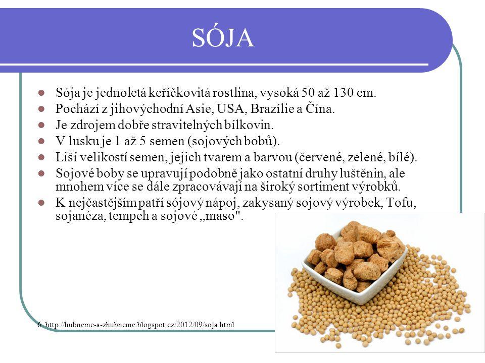 SÓJA Sója je jednoletá keříčkovitá rostlina, vysoká 50 až 130 cm.