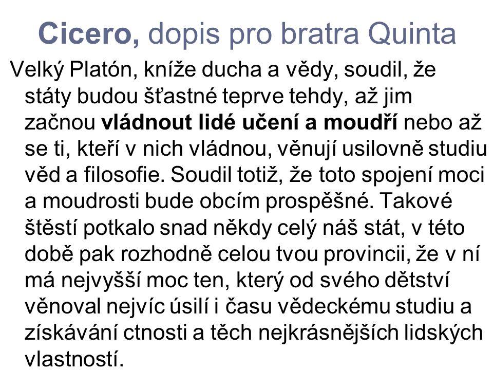 Cicero, dopis pro bratra Quinta