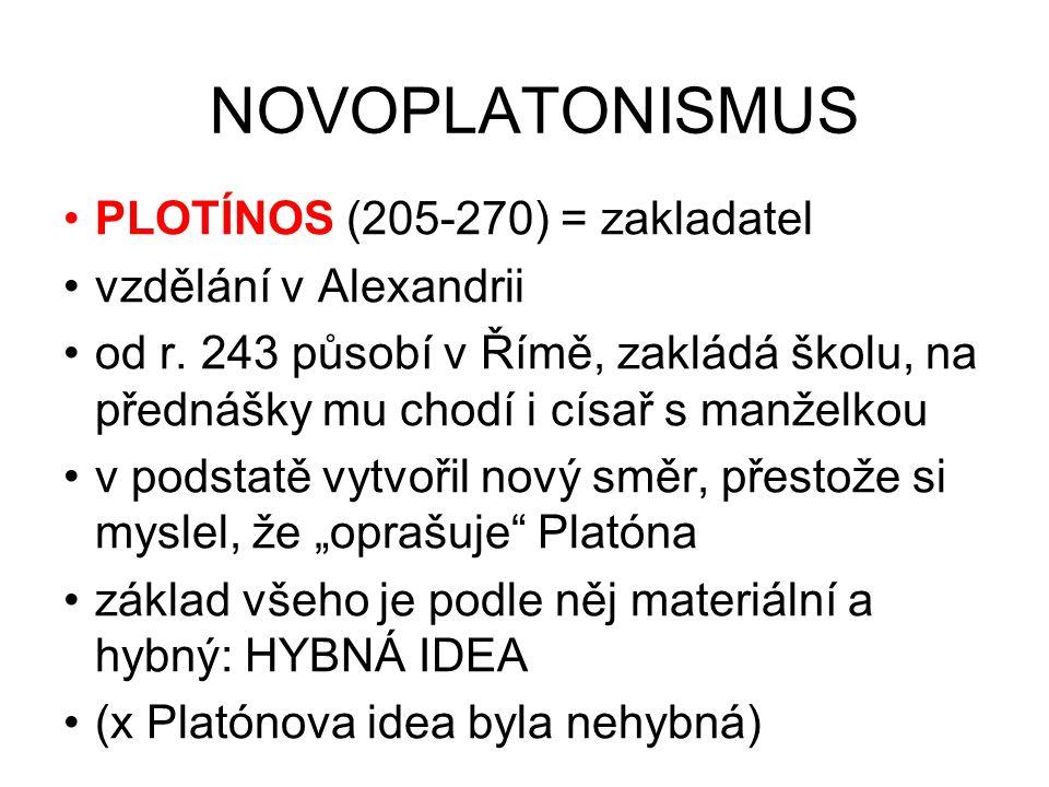 NOVOPLATONISMUS PLOTÍNOS (205-270) = zakladatel vzdělání v Alexandrii