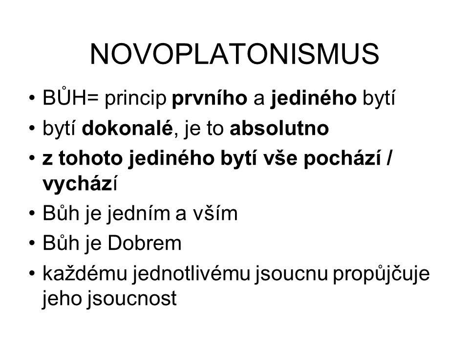 NOVOPLATONISMUS BŮH= princip prvního a jediného bytí