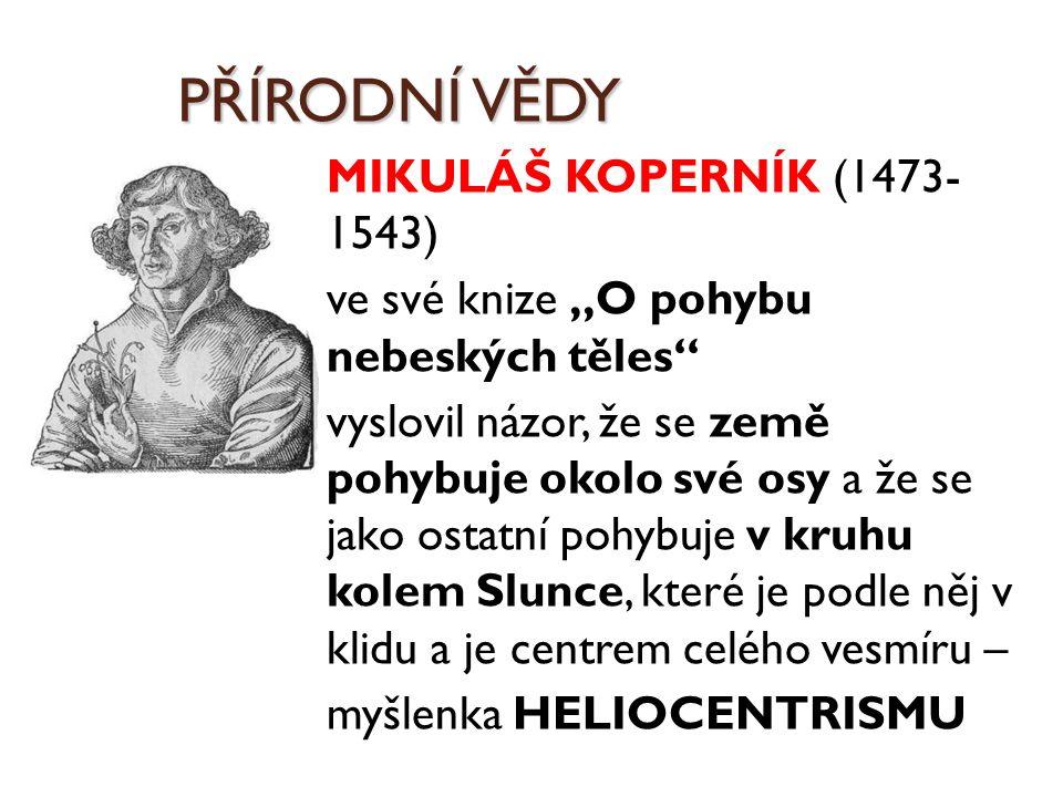 PŘÍRODNÍ VĚDY MIKULÁŠ KOPERNÍK (1473- 1543)
