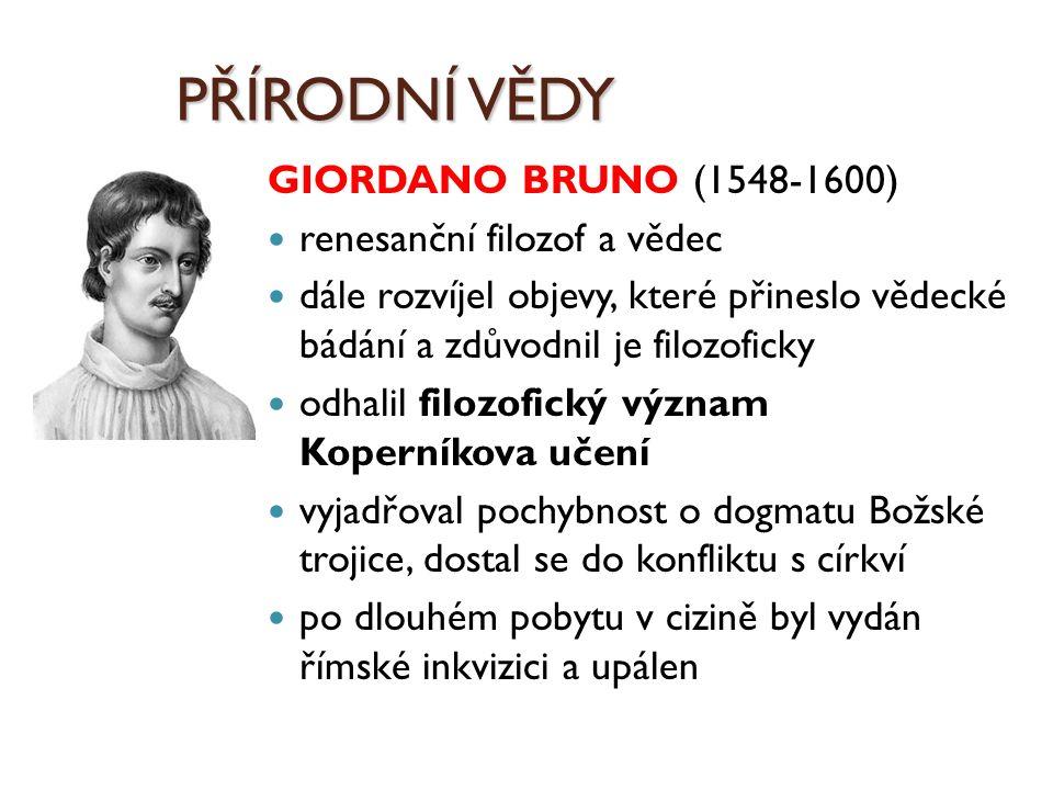 PŘÍRODNÍ VĚDY GIORDANO BRUNO (1548-1600) renesanční filozof a vědec