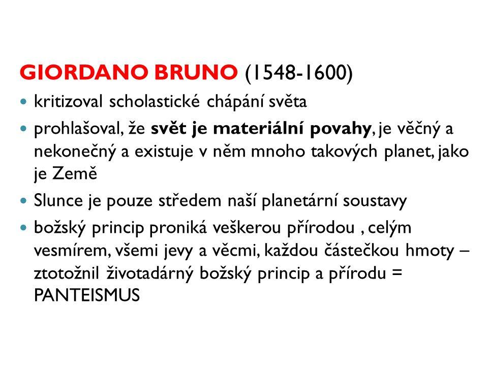 GIORDANO BRUNO (1548-1600) kritizoval scholastické chápání světa