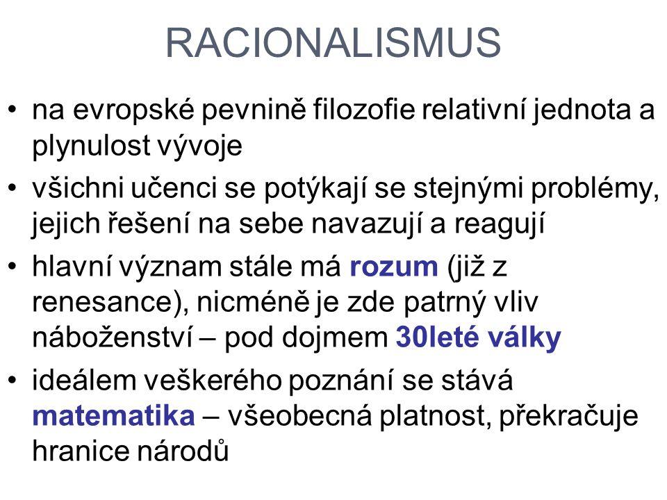RACIONALISMUS na evropské pevnině filozofie relativní jednota a plynulost vývoje.