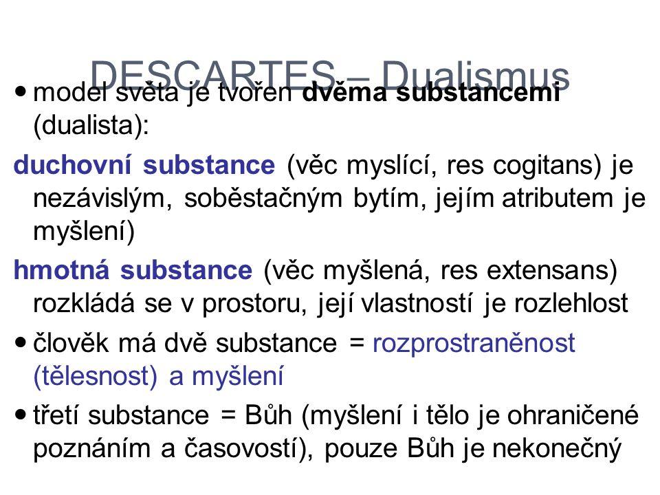 DESCARTES – Dualismus model světa je tvořen dvěma substancemi (dualista):