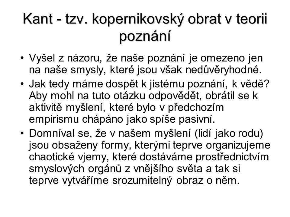 Kant - tzv. kopernikovský obrat v teorii poznání