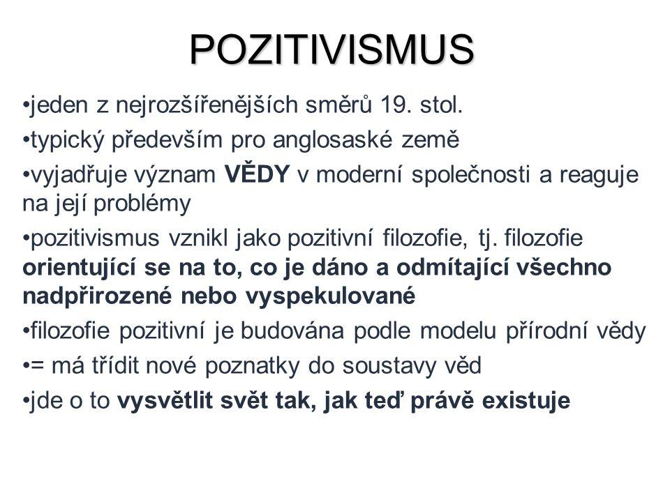 POZITIVISMUS jeden z nejrozšířenějších směrů 19. stol.