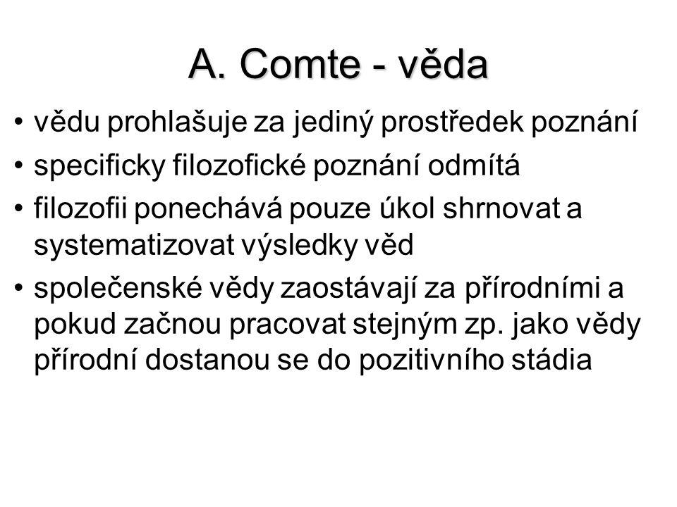 A. Comte - věda vědu prohlašuje za jediný prostředek poznání