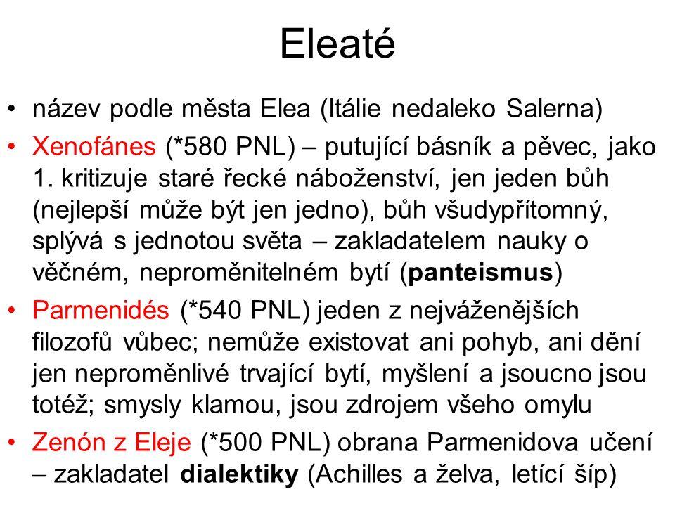 Eleaté název podle města Elea (Itálie nedaleko Salerna)
