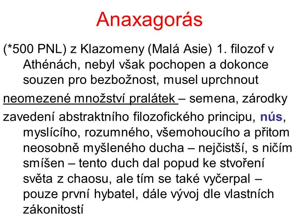Anaxagorás (*500 PNL) z Klazomeny (Malá Asie) 1. filozof v Athénách, nebyl však pochopen a dokonce souzen pro bezbožnost, musel uprchnout.