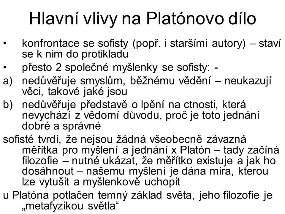 Hlavní vlivy na Platónovo dílo