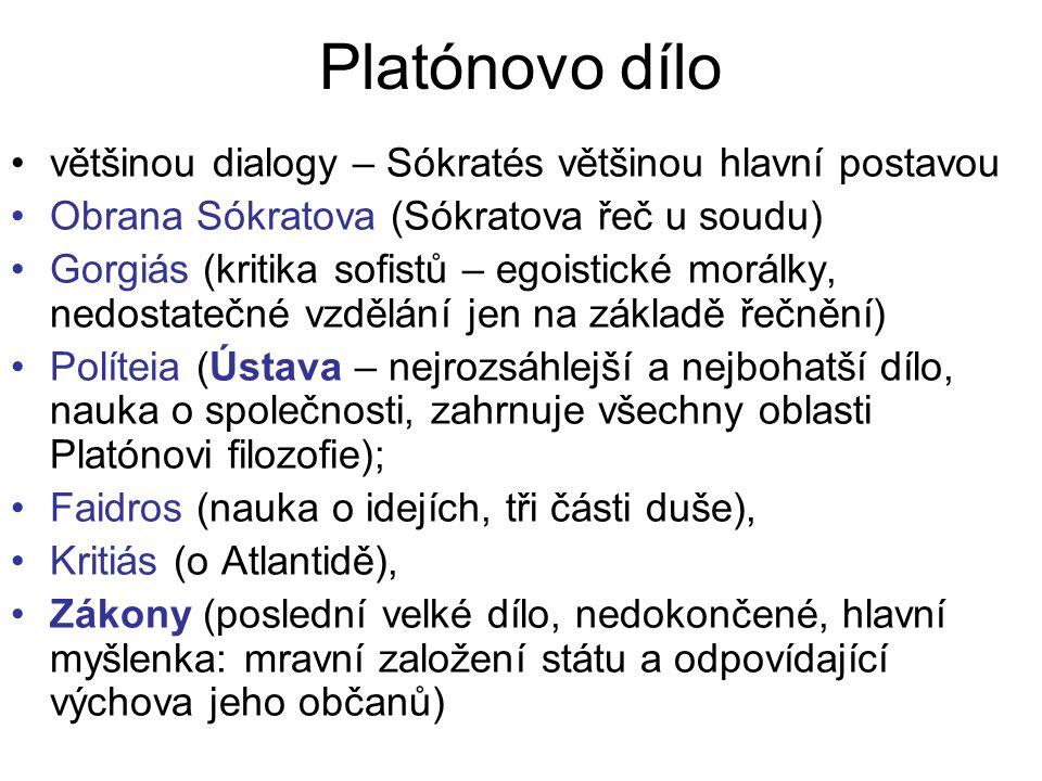 Platónovo dílo většinou dialogy – Sókratés většinou hlavní postavou