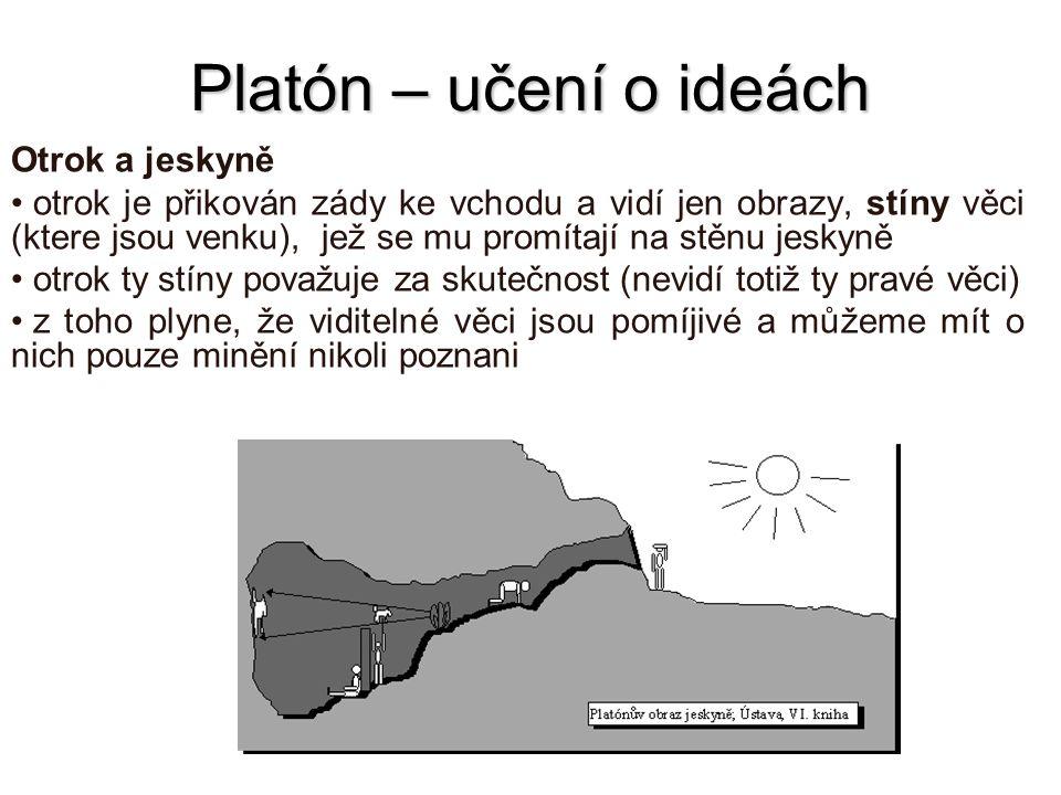 Platón – učení o ideách Otrok a jeskyně