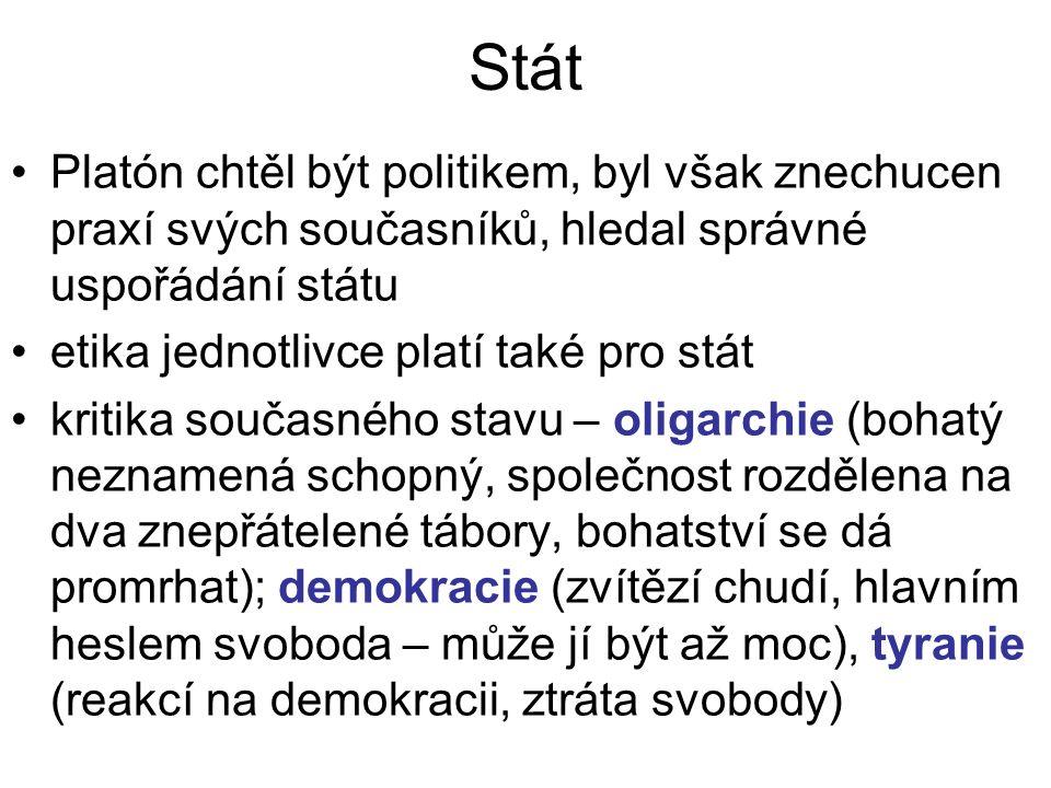Stát Platón chtěl být politikem, byl však znechucen praxí svých současníků, hledal správné uspořádání státu.