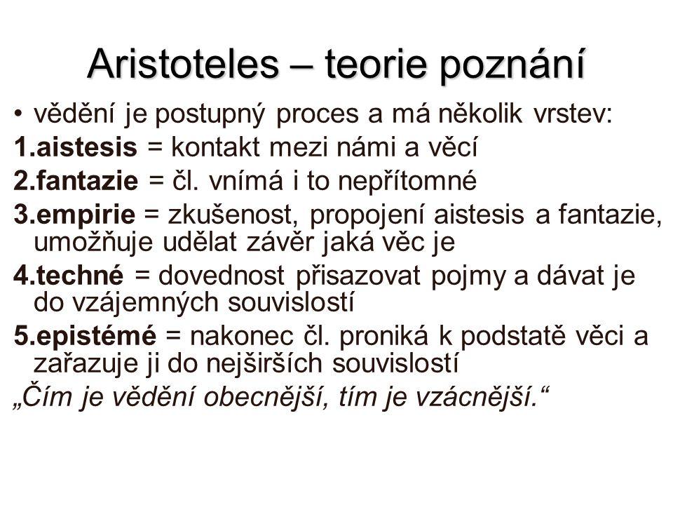 Aristoteles – teorie poznání
