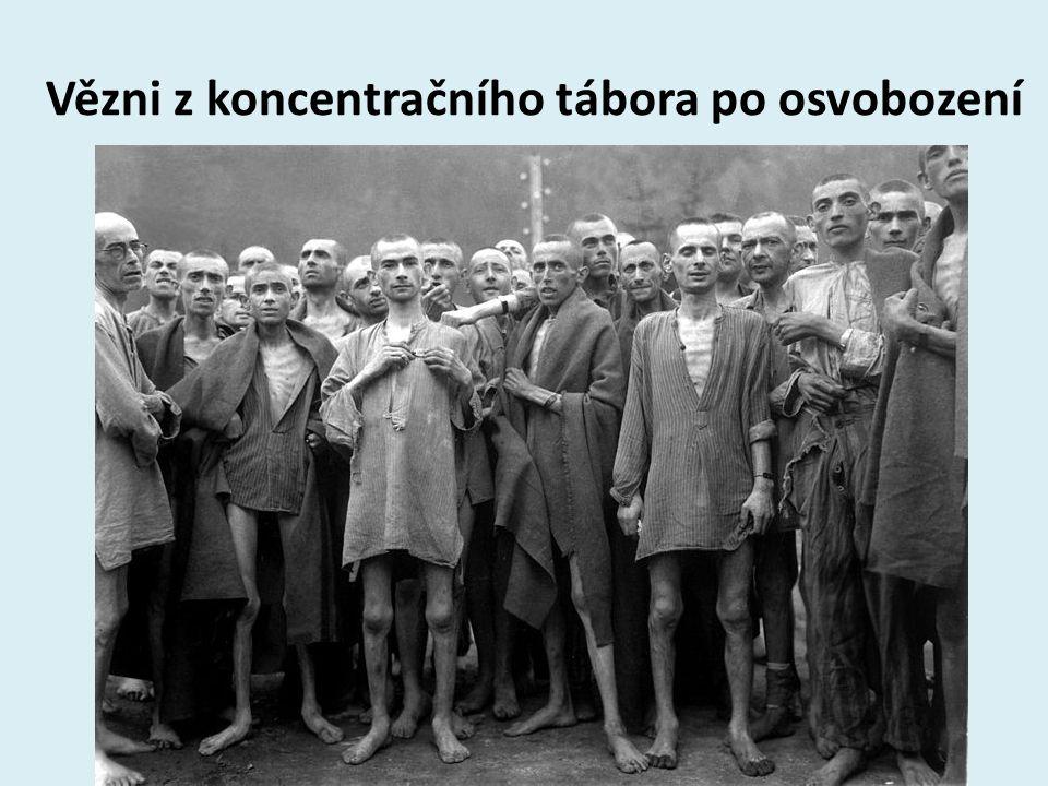 Vězni z koncentračního tábora po osvobození