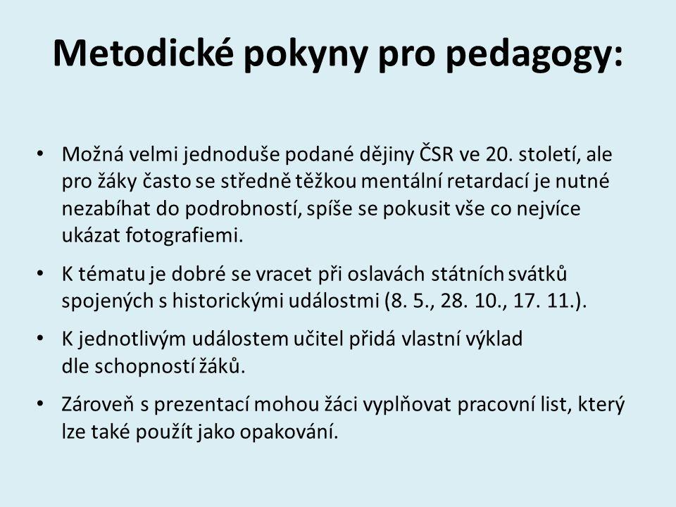 Metodické pokyny pro pedagogy:
