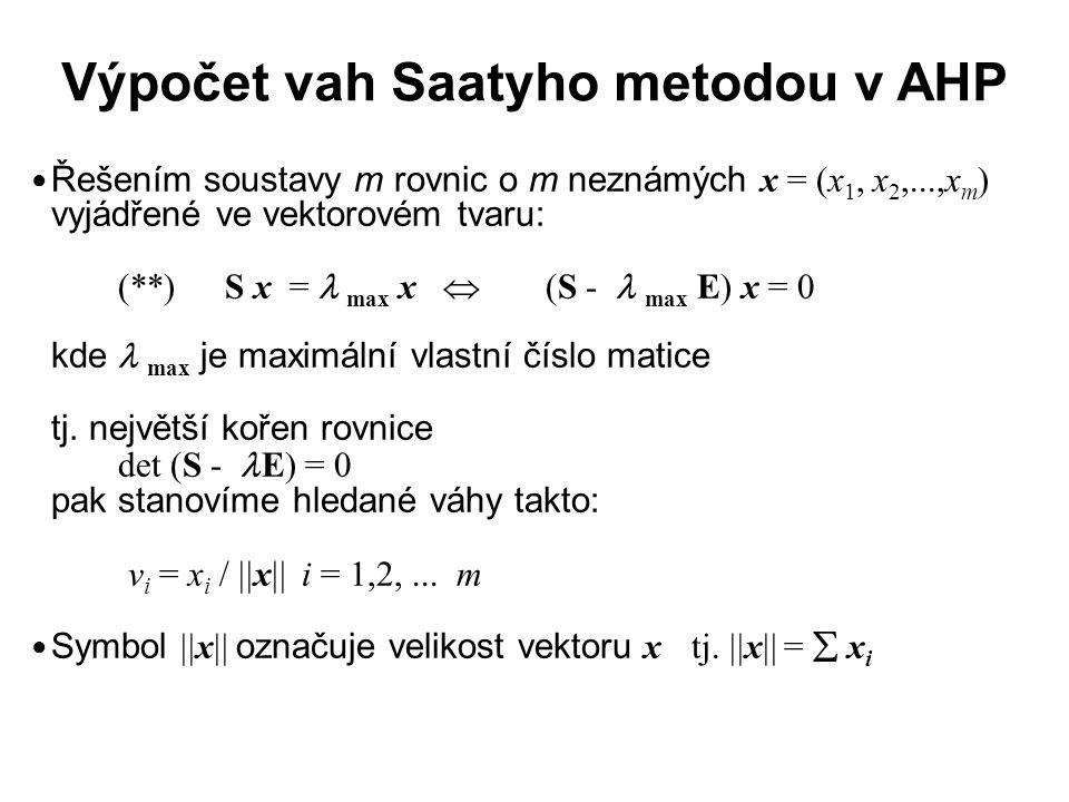 Výpočet vah Saatyho metodou v AHP