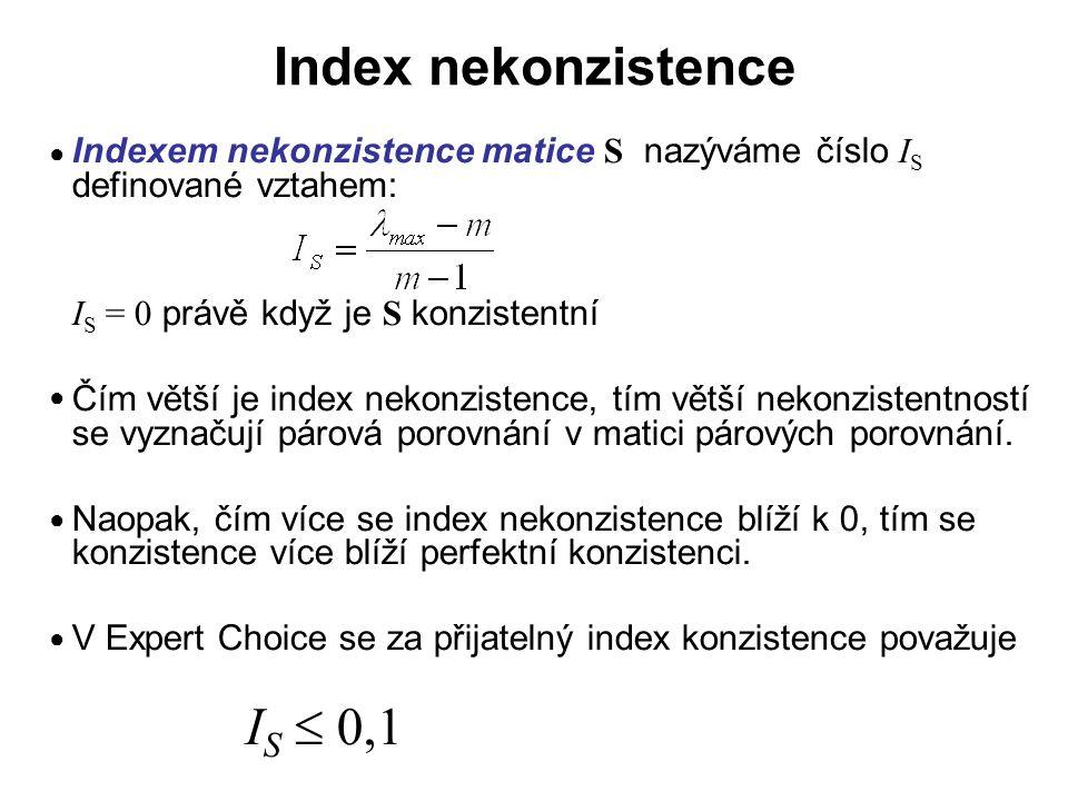 Index nekonzistence Indexem nekonzistence matice S nazýváme číslo IS definované vztahem: IS = 0 právě když je S konzistentní.