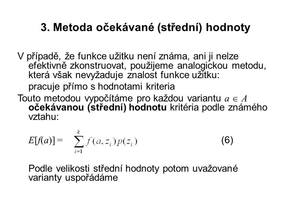 3. Metoda očekávané (střední) hodnoty