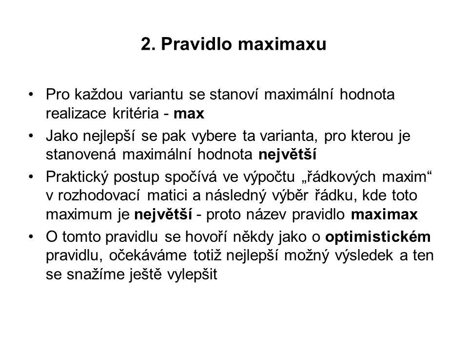 2. Pravidlo maximaxu Pro každou variantu se stanoví maximální hodnota realizace kritéria - max.