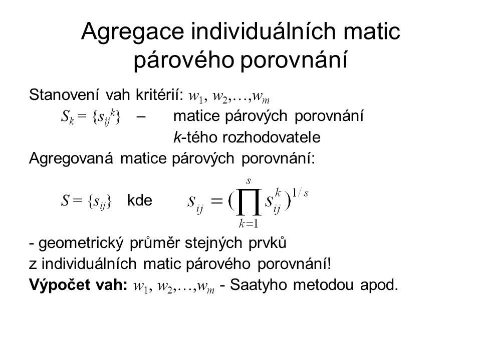 Agregace individuálních matic párového porovnání