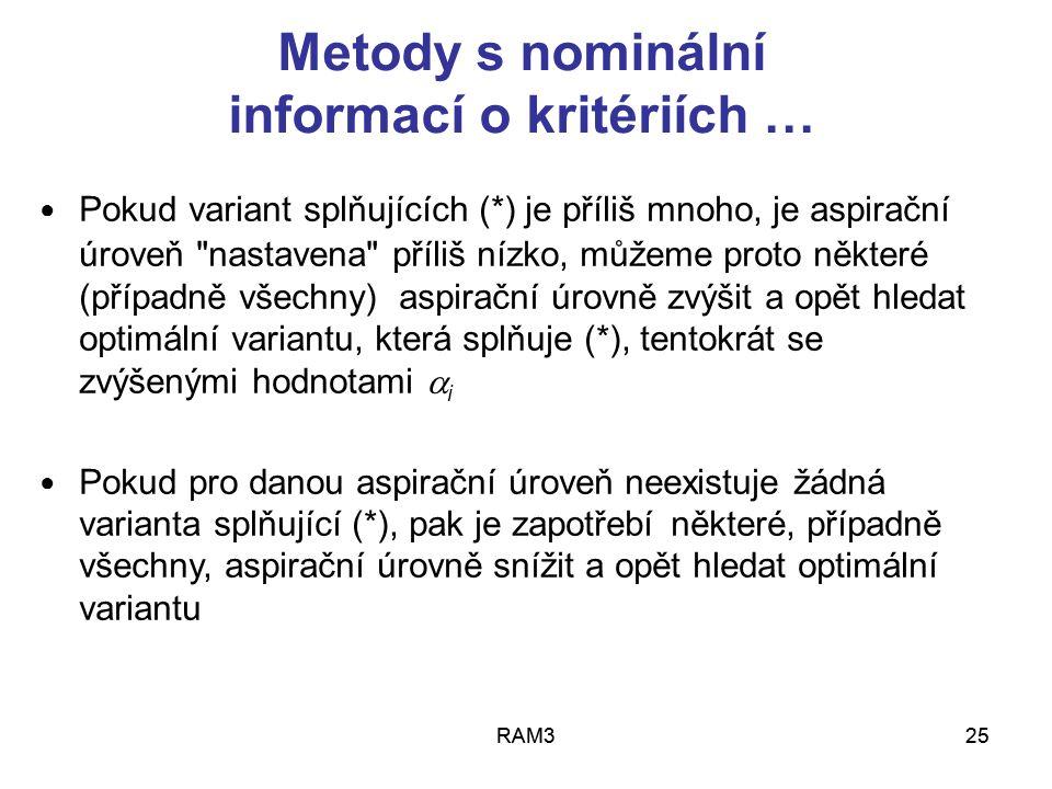 Metody s nominální informací o kritériích …