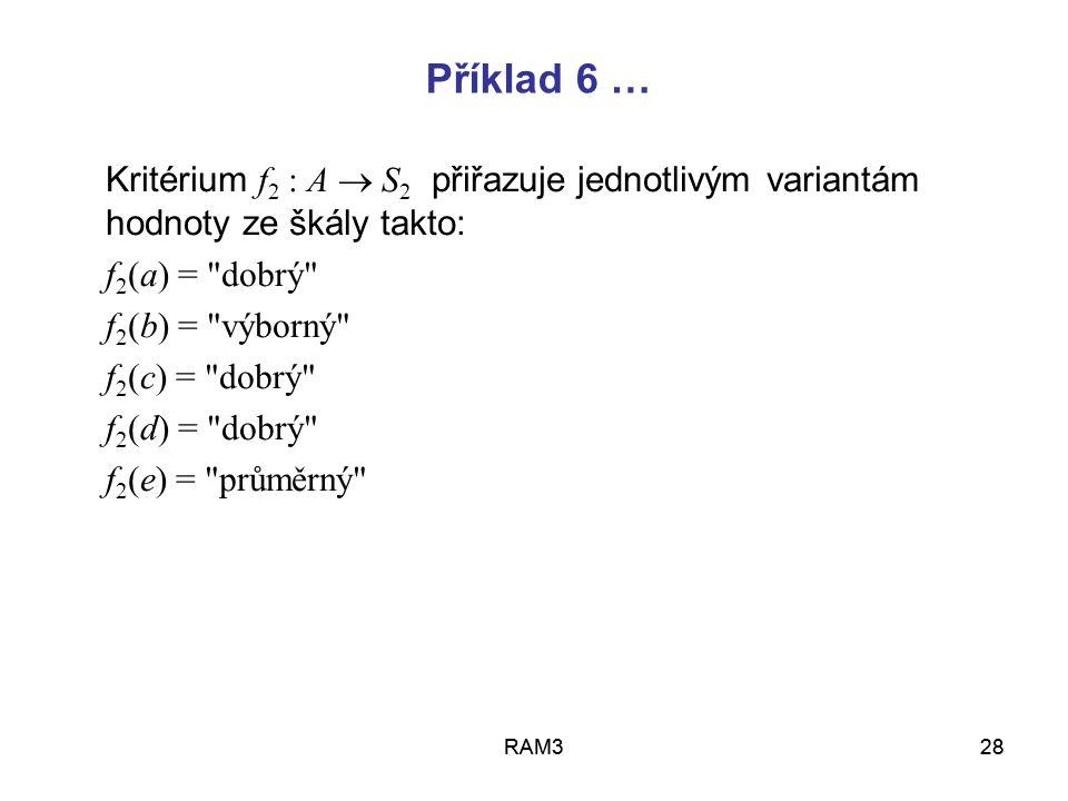 Příklad 6 … Kritérium f2 : A  S2 přiřazuje jednotlivým variantám hodnoty ze škály takto: f2(a) = dobrý