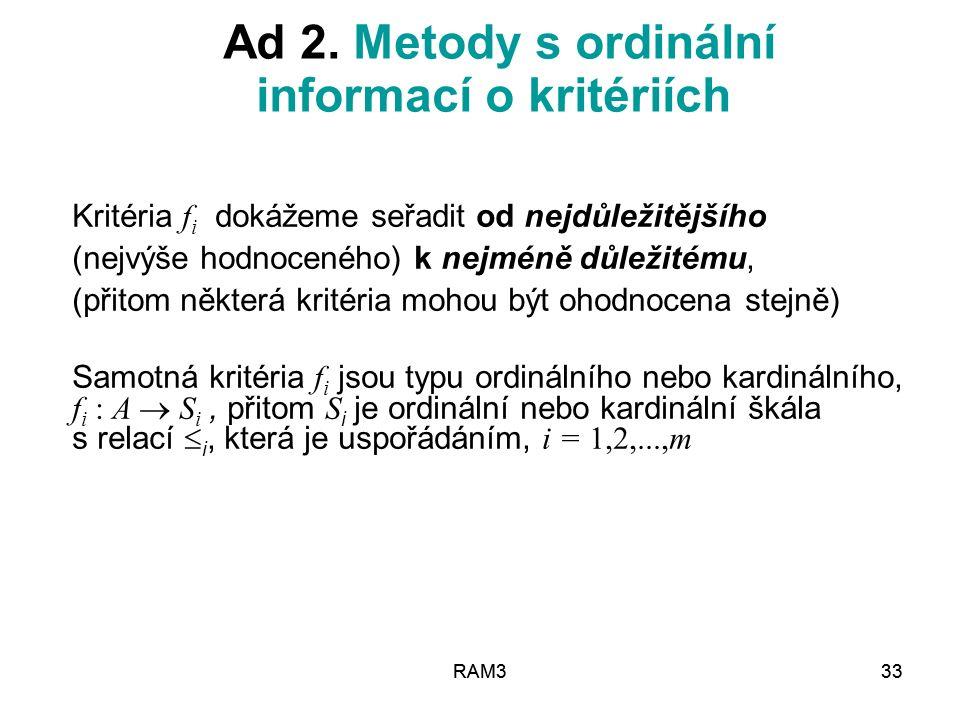 Ad 2. Metody s ordinální informací o kritériích