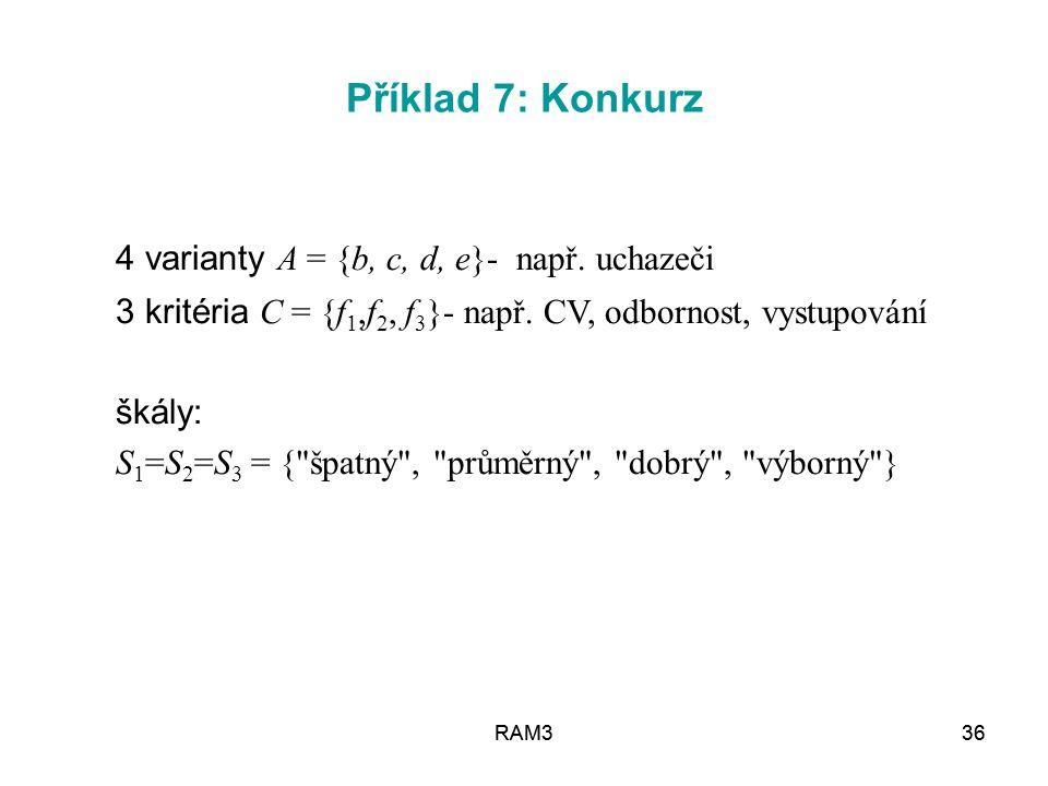 4 varianty A = {b, c, d, e}- např. uchazeči