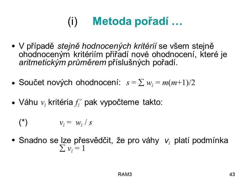 (i) Metoda pořadí …